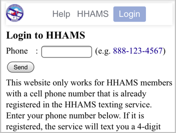Enter cell phone number on the login page