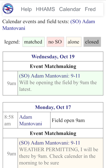 Calendar events and field texts by a member